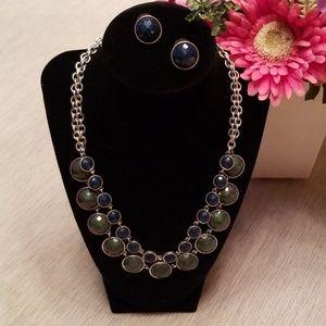 Jewelry - Green & blue necklace & earring set